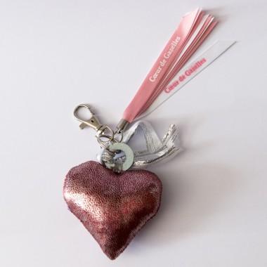 Porte clés cœur tissu Cœur de Gazelles